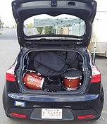 Car transport, marimba and bebop kit in