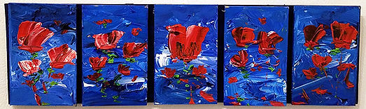 Five Red Flowers-Glenn Cheney-Acrylic-$5