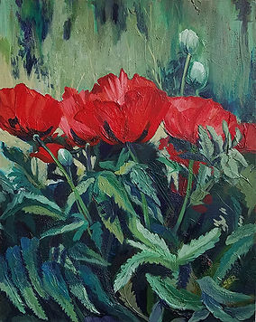 Back Yard Poppies-Susan R Larrow-Acrylic