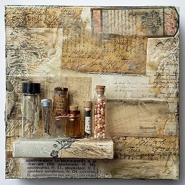 Apothecary-Assemblage-6x6cradleboard-$16