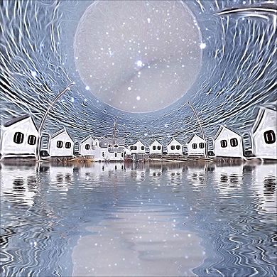 Full Moon at the Lake House-Altered Phot