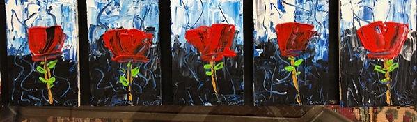 18.5x5.5 $50 acrylic on wood Cinq Fleur.