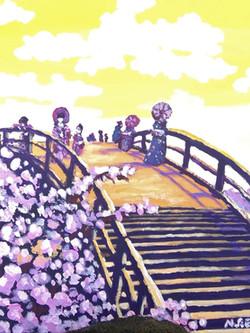 Hanami at Kintai Bridge