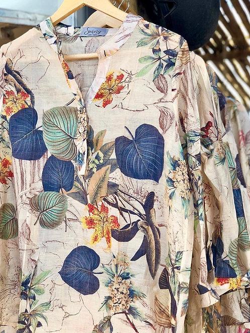 Floral Silk & Cotton Blouse