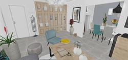 Une vue 3D centrée plus sur le mobilier du salon