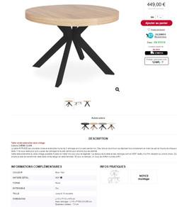 Une table avec rallonge avec pieds noir