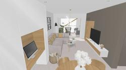 Vue salle à manger, salon vers terrasse