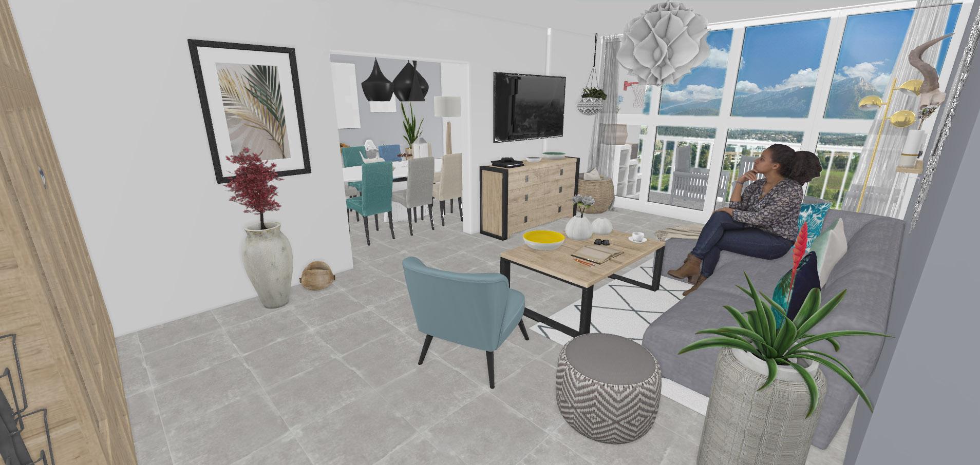 Une vue 3D dégagée sur la perspective de la vue du salon