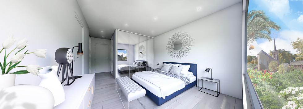 Une vue panoramique 3D d'une chambre