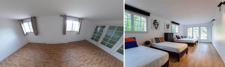 Un dortoir rénové avant, après