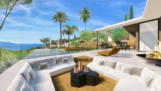 Une perspective 3D d'une villa avec vue sur la mer