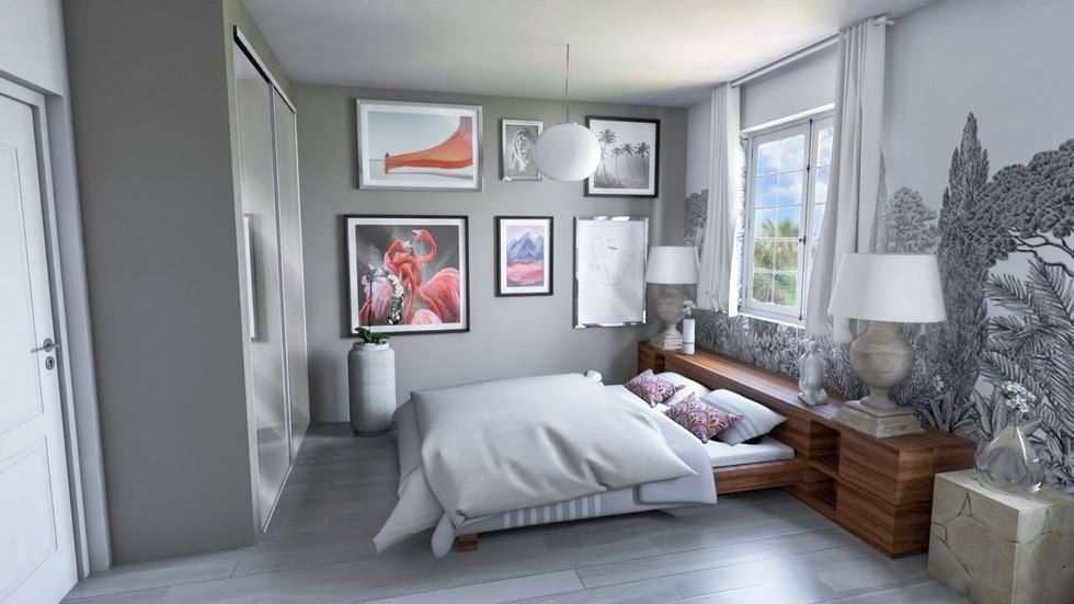 Une chambre aménagée en 3D