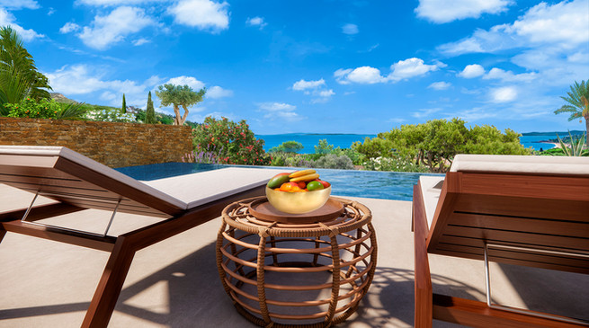 Une perspective 3D de la terrasse et le salon de détente
