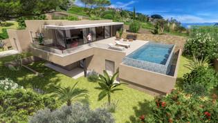 Une image 3D photo réaliste de villa contemporaine et moderne dans le sud