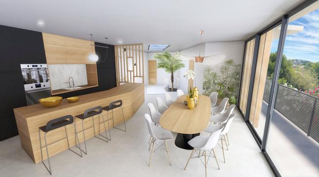 La perspective 3D grand angle d'une cuisine