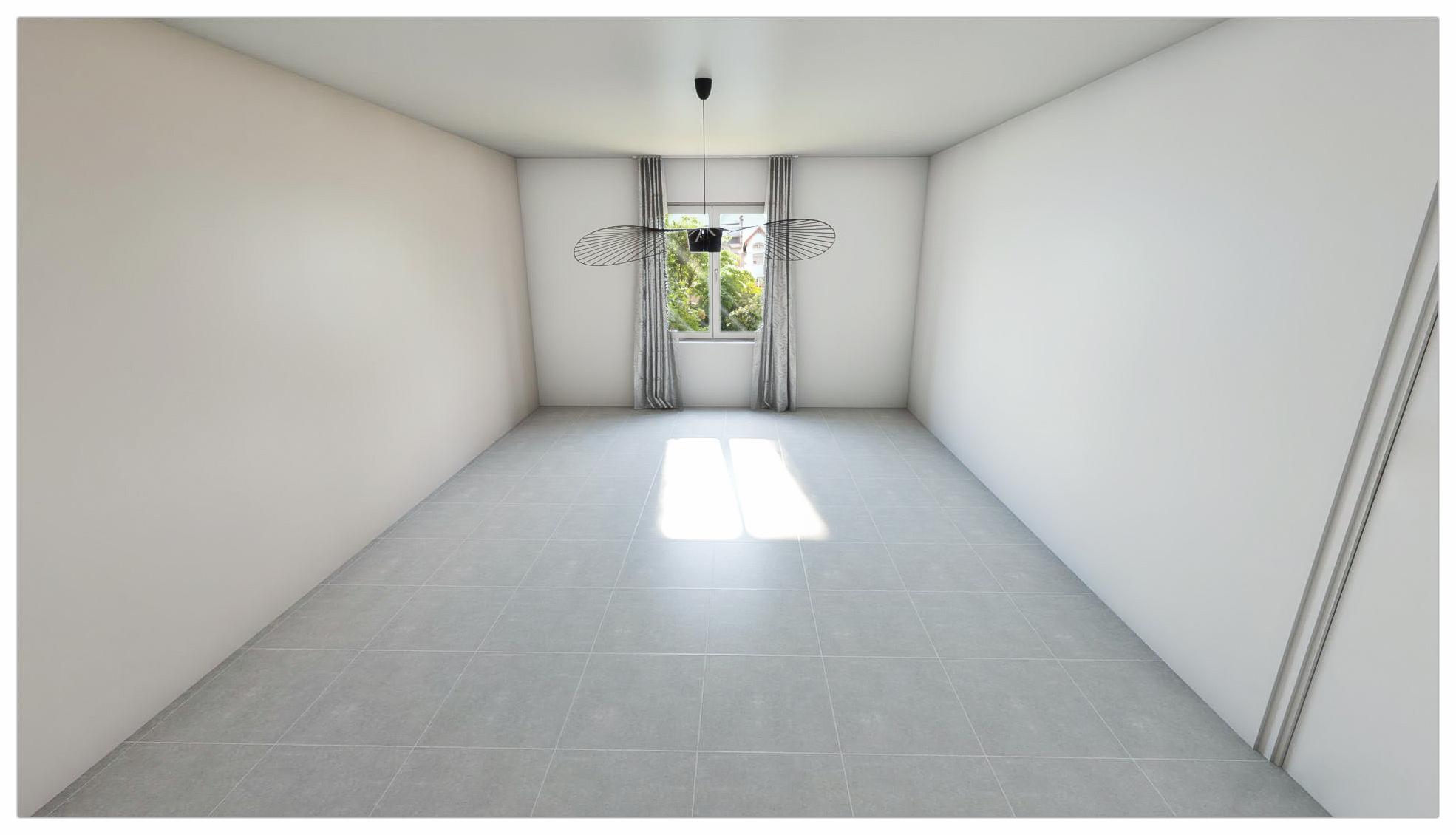 Un image 3D épurée d'une pièce vide