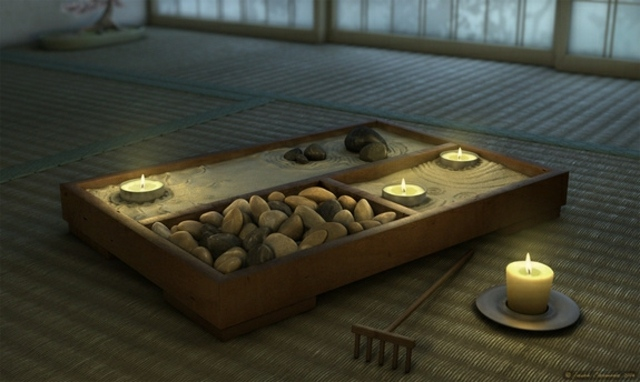 Un Jardin zen et bougies parfumées