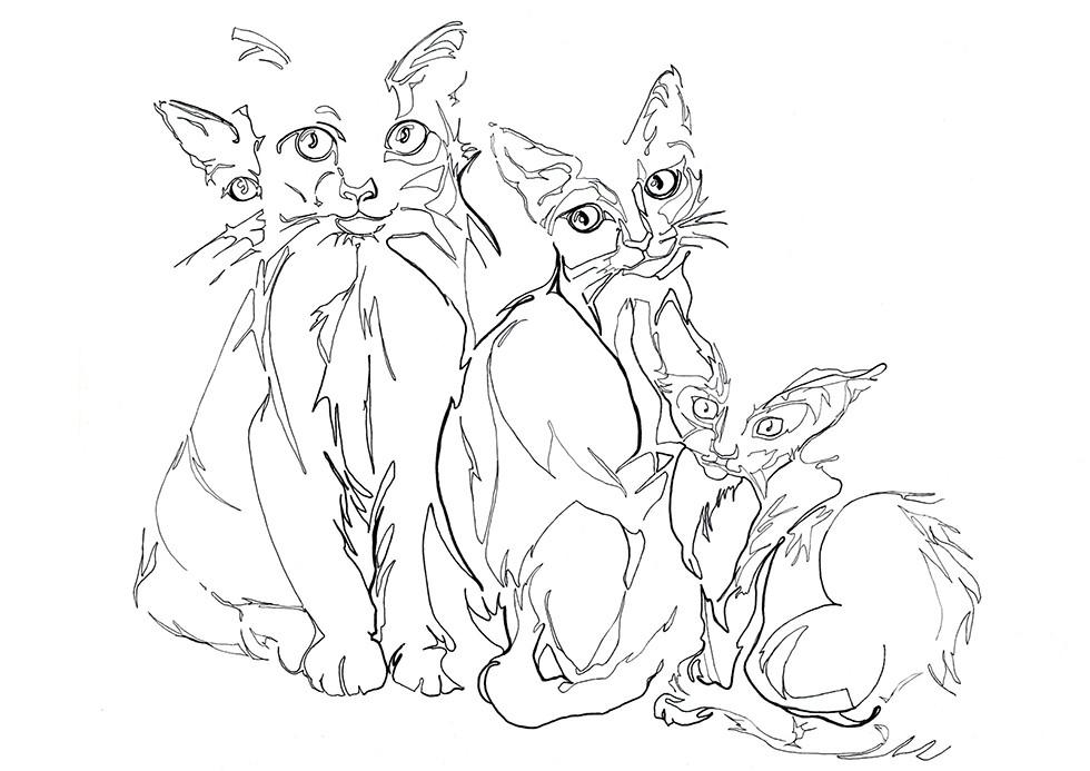Une toile d'art décorative de chats
