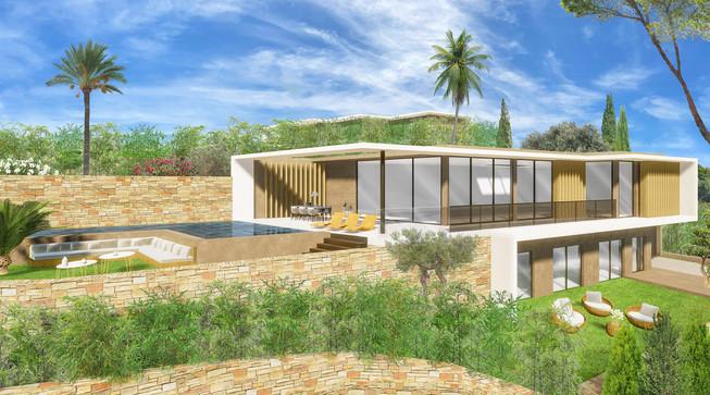 Une maison moderne en 3D avec sa végétation