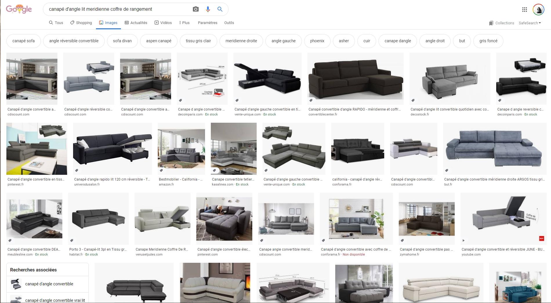 Un canapé d'angle, avec lit disposant de  rangements