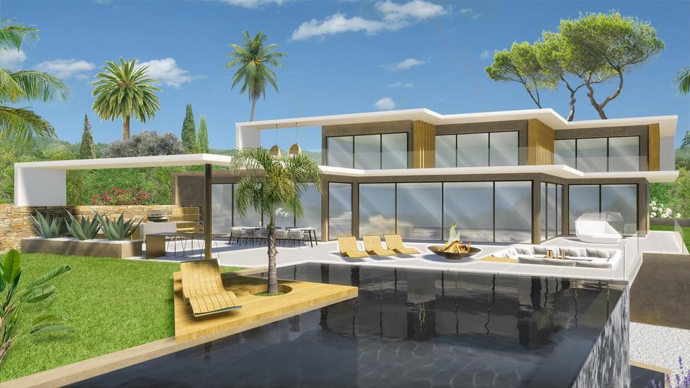 Une maison contemporaine en 3D avec son jardin