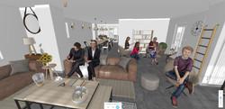 Le salon en vue immersive 3D