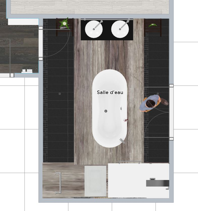 Plan 2D salle de bain.