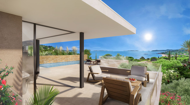Un cadrage grand-angle pour cette perspective 3D de villa contemporaine
