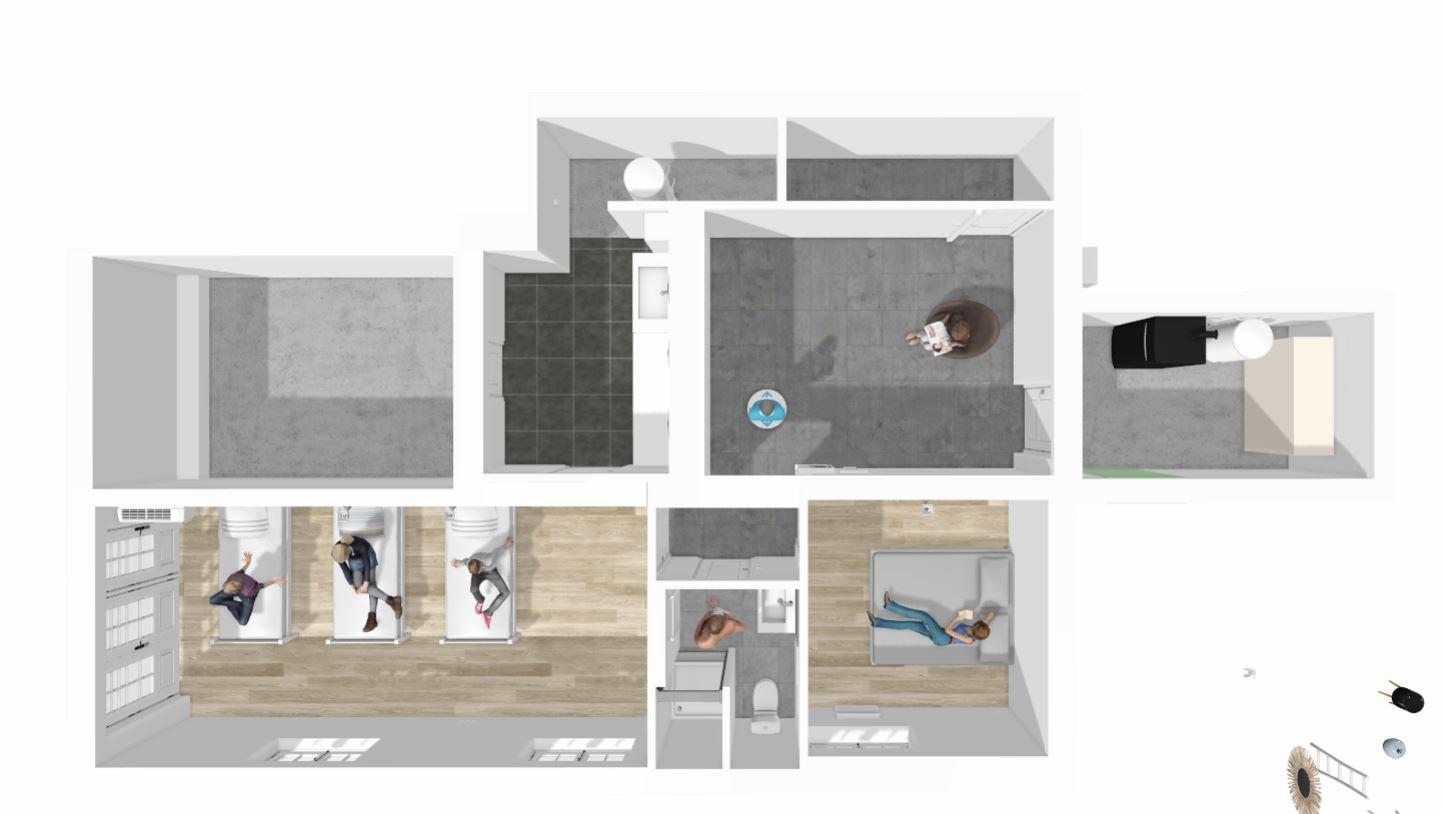 Le sous sol en vue 2D avec volumes