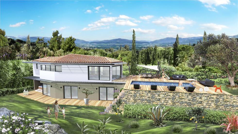 Une villa et son environement en 3D