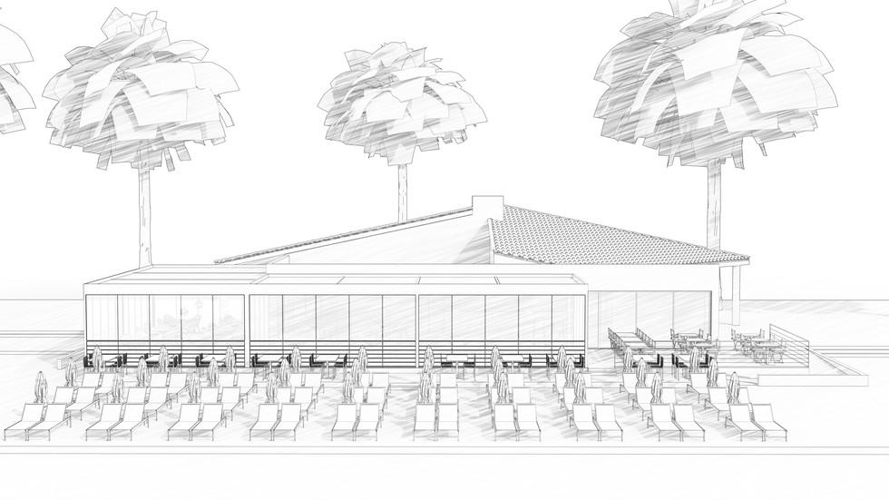 Une perspective 3D style croquis noir et blanc d'architecture