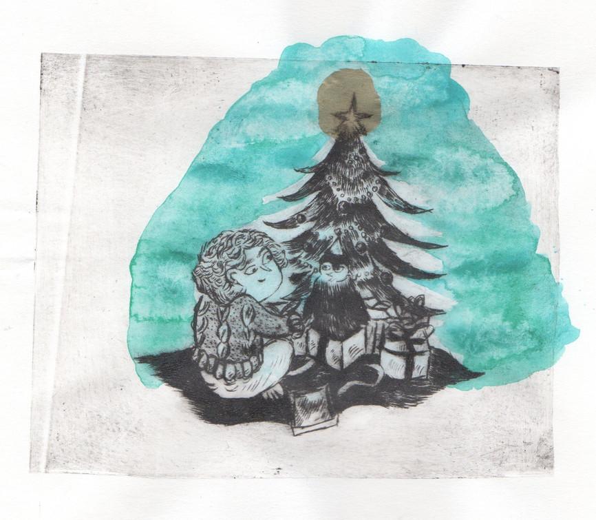 Une aquarelle de sapin de noel en illustration
