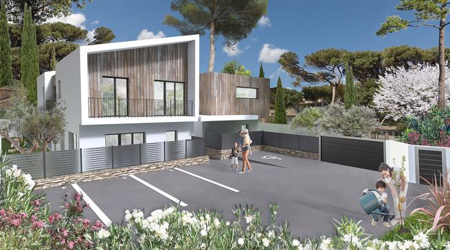 Voici la perspective 3D d'une résidence en extérieur