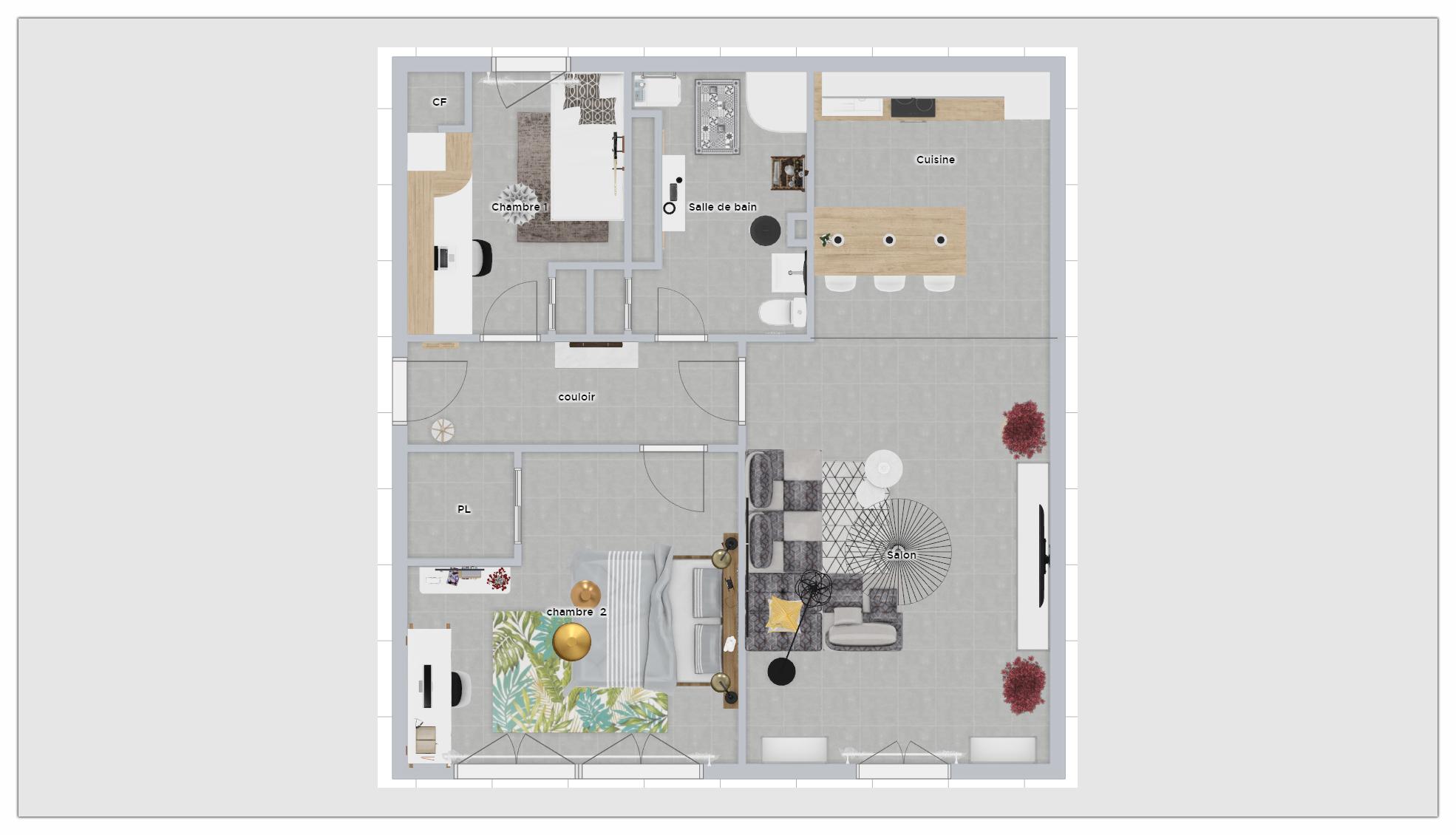 Le plan 2D coté d'un appartement