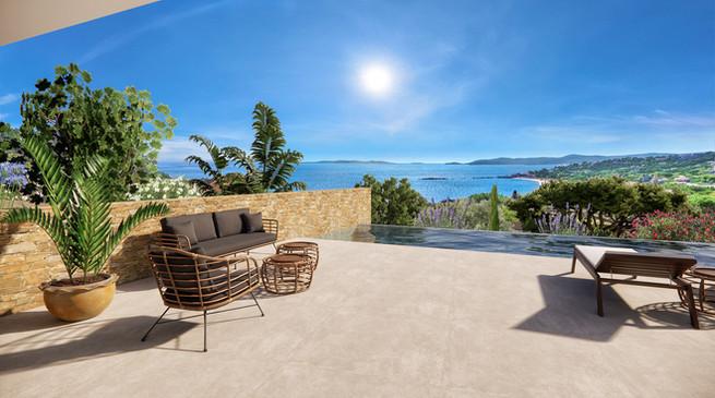 Une terrasse 3D avec la vue mer