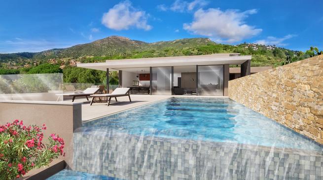 Une piscine à débordement en 3D