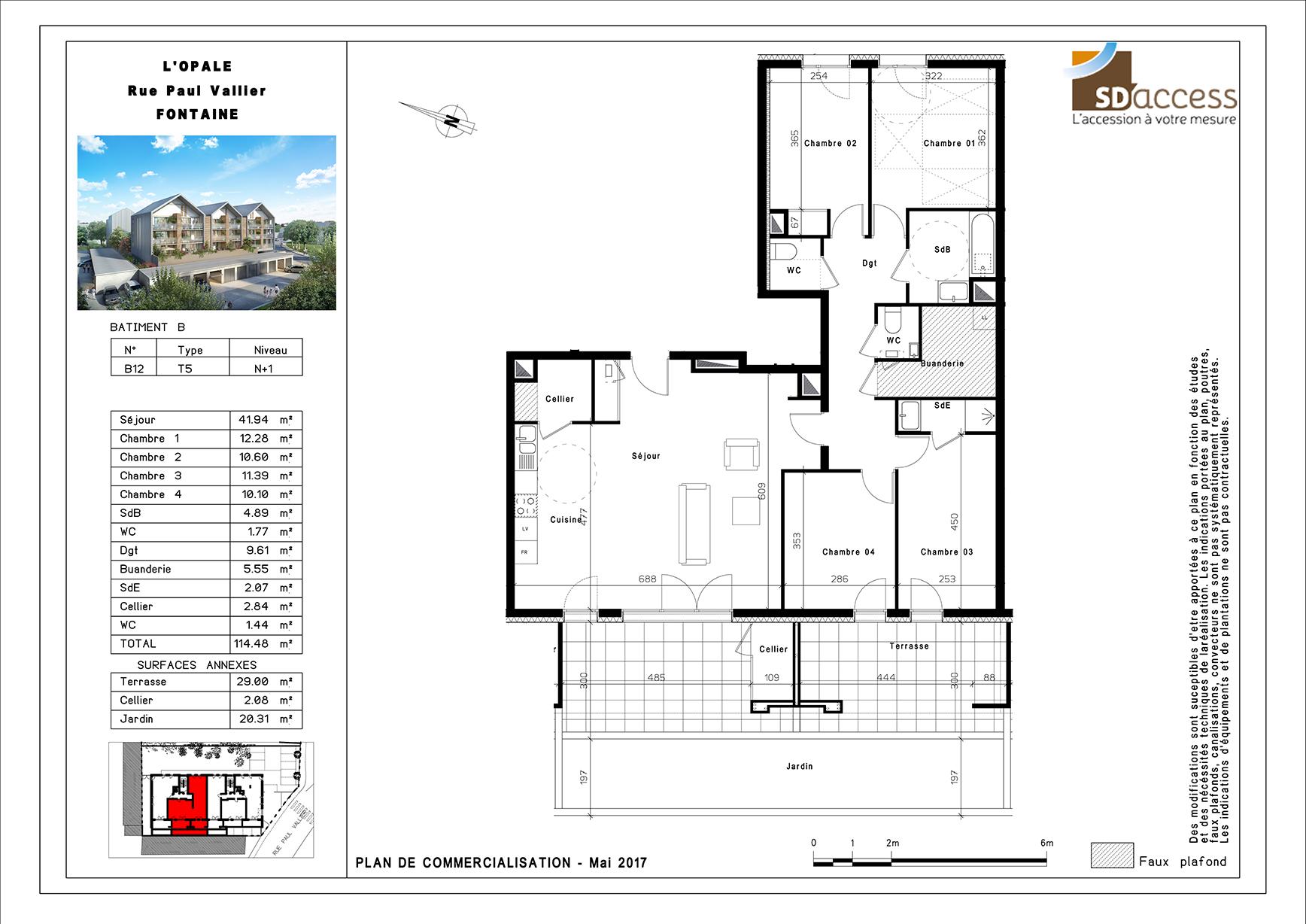 Un Plan 2D pour un appartement T5