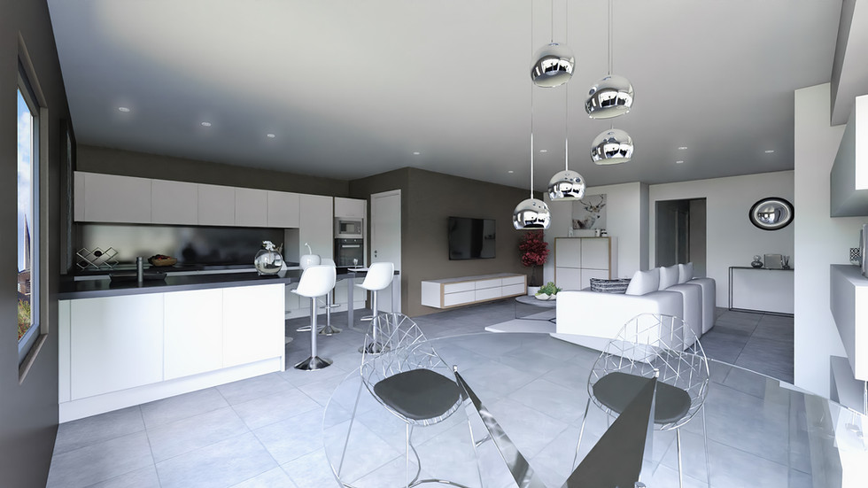 Une vue 3D grand angle d'un salon