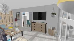 Une vue 3D grand-angle dans le salon