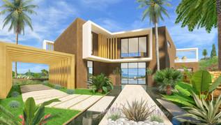 Une maison en plan 3D avec vue sur la mer
