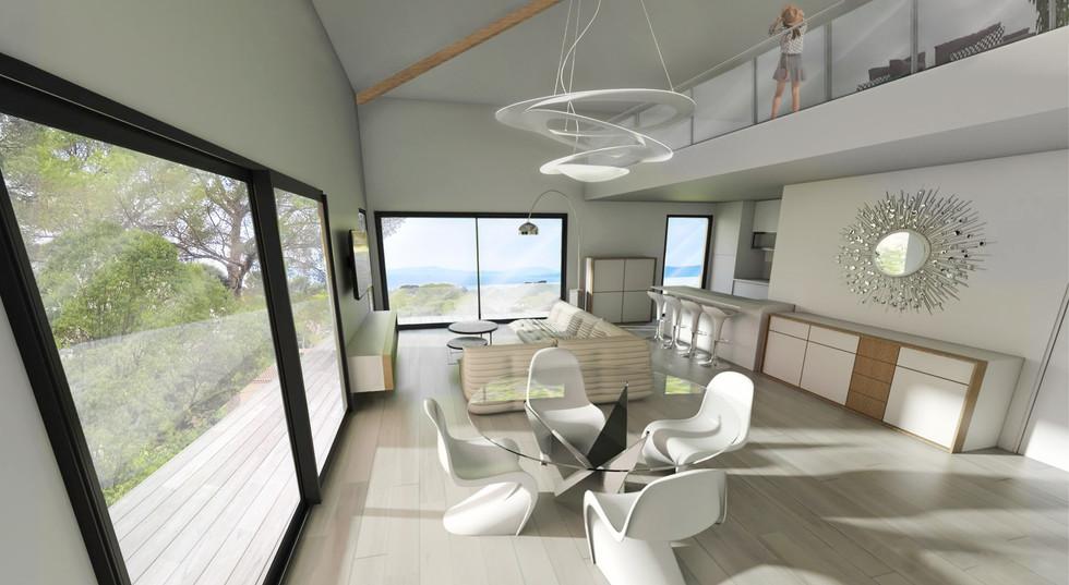 Une perspective intérieur en 3D de résidence pour l'immobilier