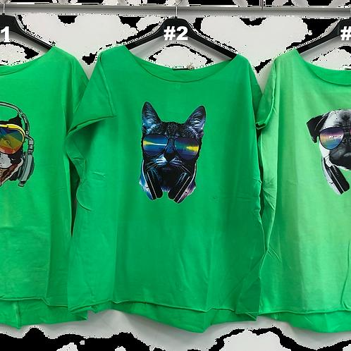 T-Shirts mit Aufdruck Hunde grün