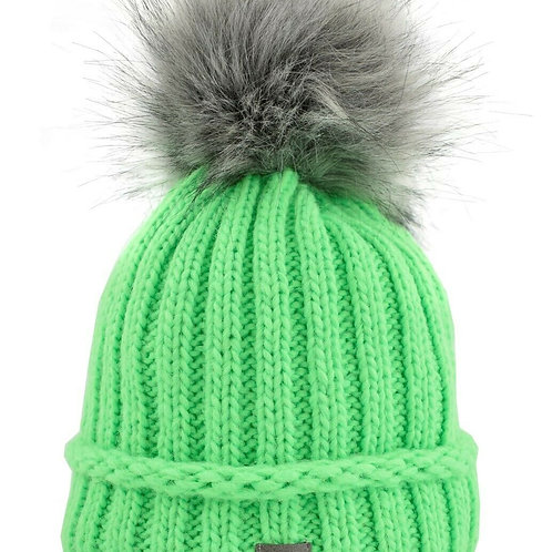 Unisex Damen Herren Kinder Mütze mit Bommel Grün