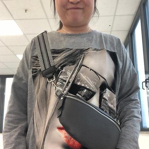grau Damen Taschen Bauchtasche mit Taschengurt