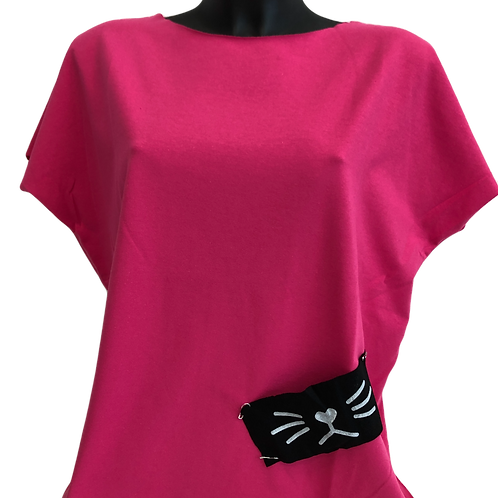 pink Damen T-Shirts mit Patches Katze
