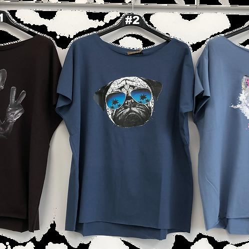 T-Shirts mit Aufdruck Hunde Katze blau