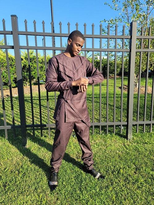 Classic Pan-African Solid Brown  Men Set
