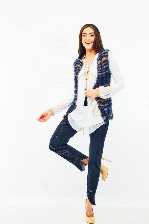 Spodnie dżinsowe z naszytym wzorem Elisa Cavaletti