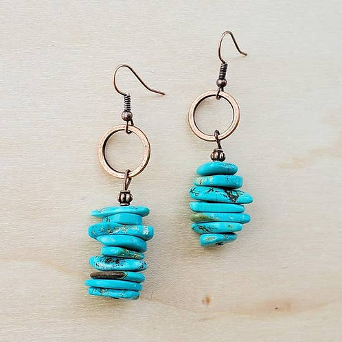 The Jewelry Junkie - Blue Turquoise Stacked Gemstone Earrings
