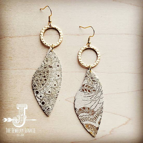 The Jewelry Junkie - Leather Accent Earrings in Gold and White Paisle